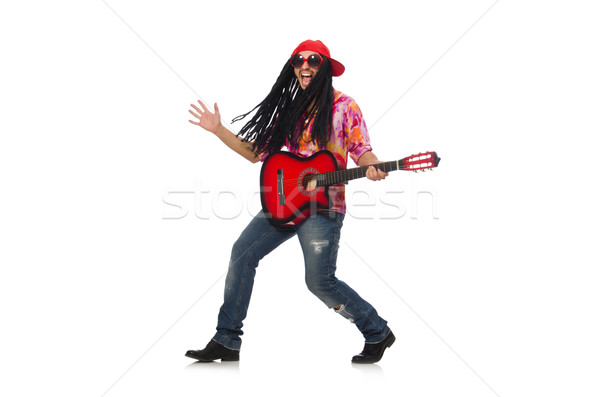 мужчины музыканта гитаре изолированный белый счастливым Сток-фото © Elnur