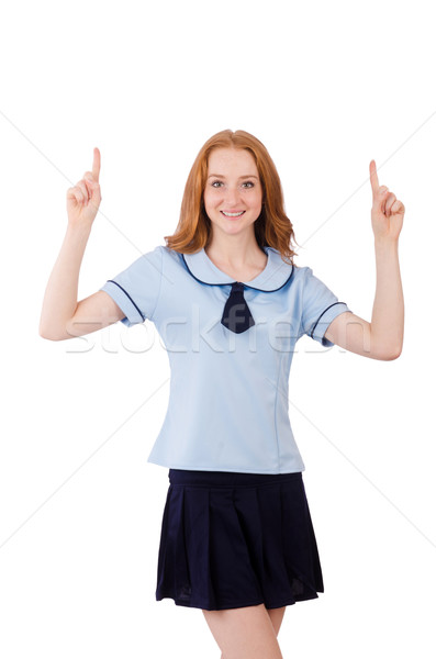 Young student female pointing isolated on white Stock photo © Elnur