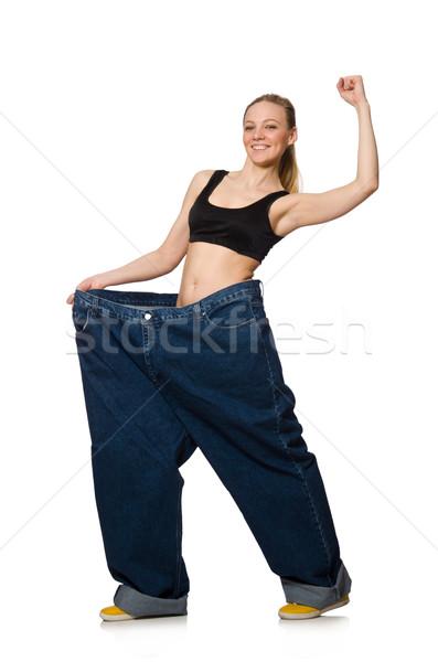 Régime grand jeans blanche femme fille Photo stock © Elnur