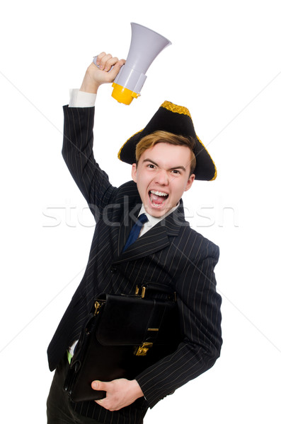 Young man in costume with pirate hat and megaphone isolated on w Stock photo © Elnur