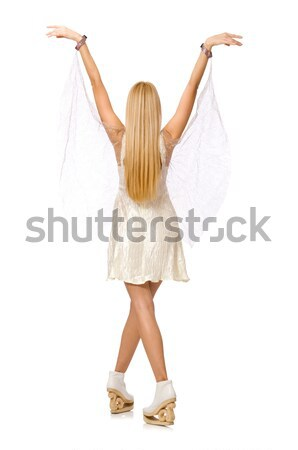 Güzel genç kadın yalıtılmış beyaz kız mutlu Stok fotoğraf © Elnur