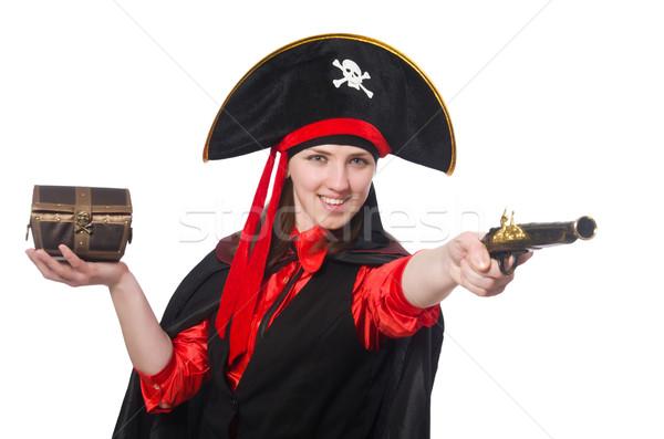 Weiblichen Piraten halten Schatz Feld Handfeuerwaffe Stock foto © Elnur