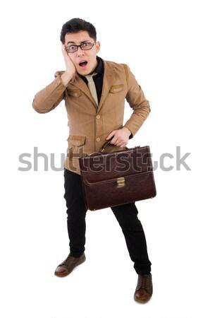 Jonge man bruin aktetas geïsoleerd witte achtergrond Stockfoto © Elnur