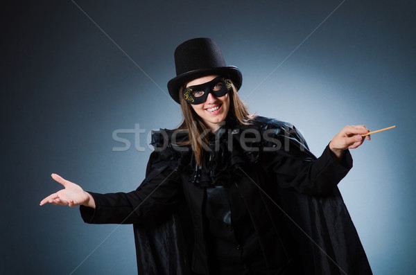 Nő bűvész vicces lány maszk retro Stock fotó © Elnur