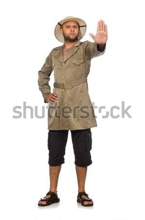 Adam safari şapka yalıtılmış beyaz adam beyaz Stok fotoğraf © Elnur