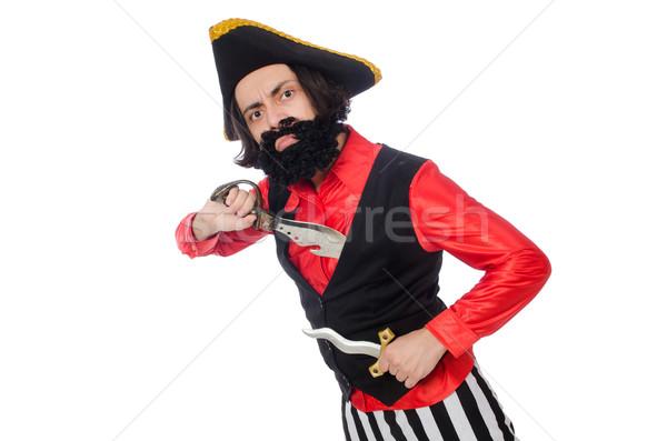 Divertente pirata isolato bianco spada Hat Foto d'archivio © Elnur