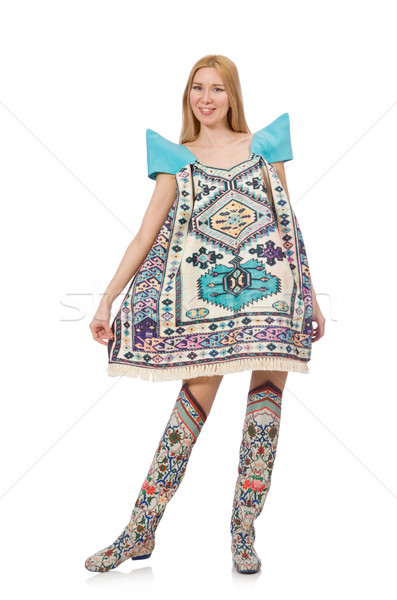 Woman in dress with oriental prints isolated on white Stock photo © Elnur