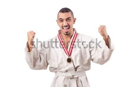 Funny karate myśliwiec kubek biały człowiek Zdjęcia stock © Elnur