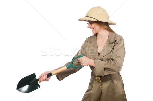 Femme Safari chapeau blanche soleil Photo stock © Elnur