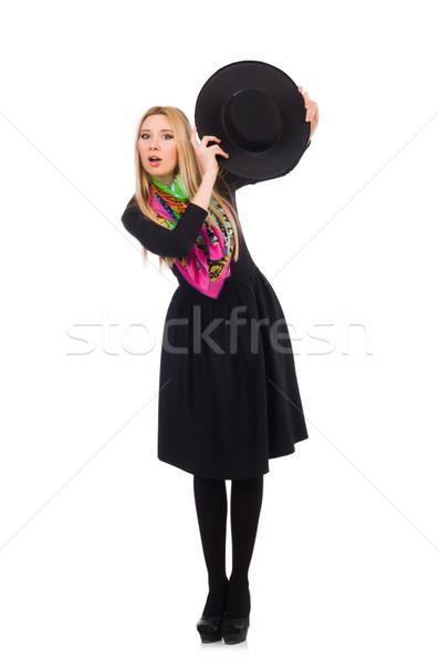 женщину долго черное платье изолированный белый модель Сток-фото © Elnur