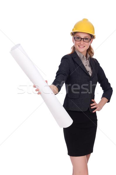 Woman architect with blueprints on white Stock photo © Elnur