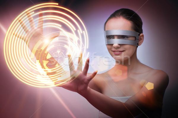 Futurista techno mulher tecnologia tela robô Foto stock © Elnur