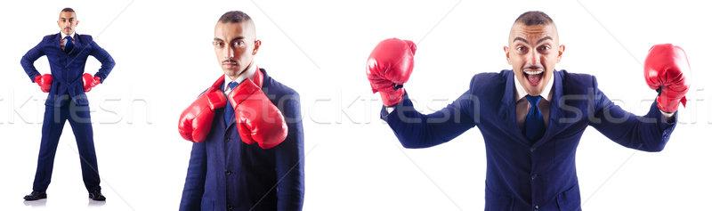 Przystojny biznesmen rękawice bokserskie działalności sportu wykonawczej Zdjęcia stock © Elnur