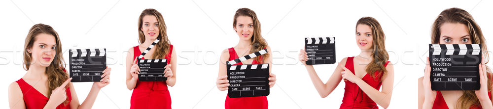 Woman holding movie clapperboard isolated on white Stock photo © Elnur