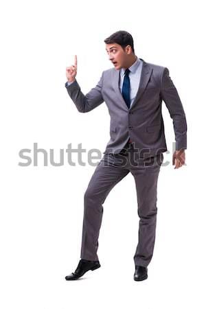 Agresywny człowiek pistolet odizolowany biały strony Zdjęcia stock © Elnur