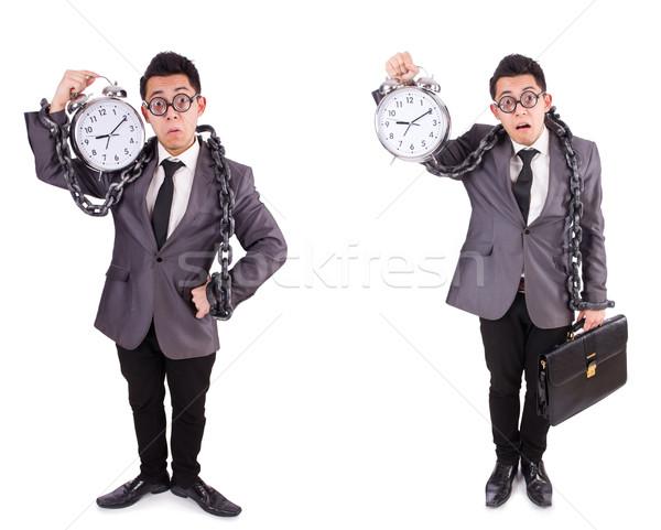 Сток-фото: бизнесмен · будильник · изолированный · белый · служба