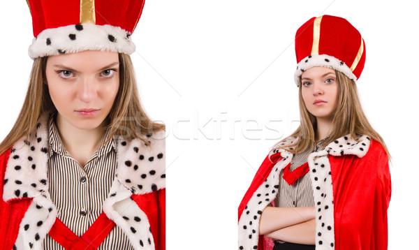 Empresária rainha isolado branco trabalhar empresário Foto stock © Elnur