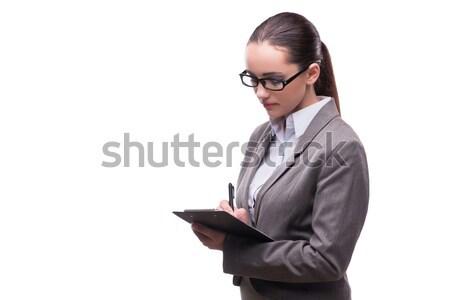 Stock fotó: Elegáns · gyönyörű · üzletasszony · üzlet · izolált · fehér