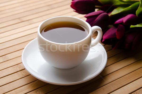 Beker thee catering bloemen blad glas Stockfoto © Elnur