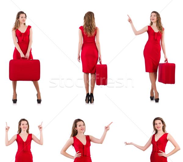 Vestito rosso valigia isolato bianco felice Foto d'archivio © Elnur