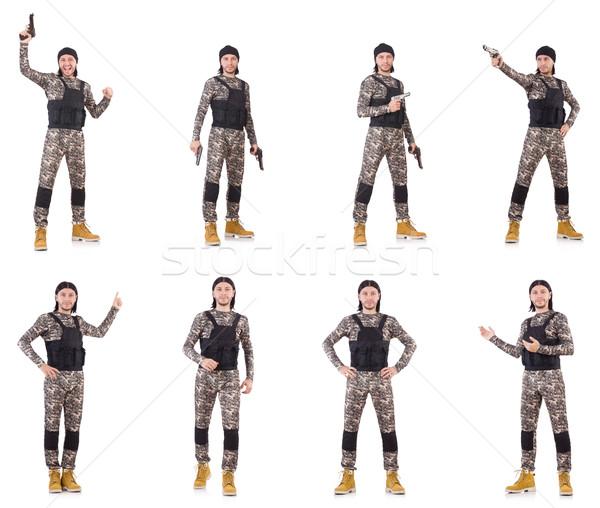 Foto stock: Soldado · arma · aislado · blanco · mano · hombre
