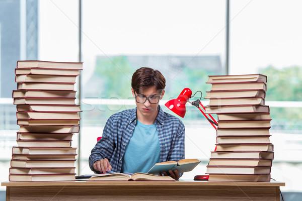 Fiatal diák stressz vizsgák könyvek iskola Stock fotó © Elnur