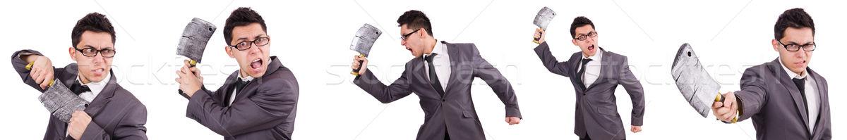 Hombre hacha aislado hombre blanco blanco negocios Foto stock © Elnur