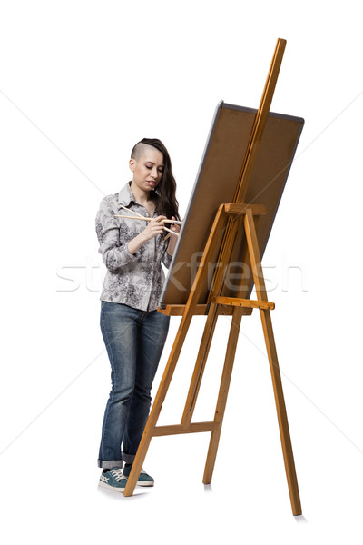 Female artist drawing picture isolated on white background Stock photo © Elnur