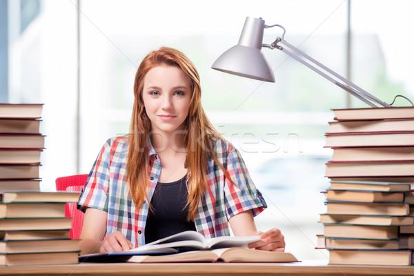 Diák könyvek vizsgák lány iskola otthon Stock fotó © Elnur