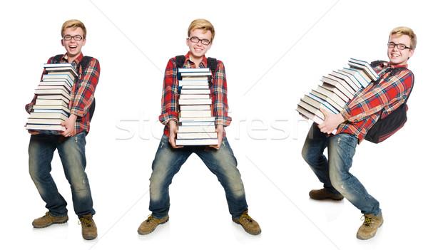 Fotografia student książek człowiek tle Zdjęcia stock © Elnur