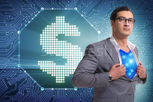 Superhero saving american dollar currency Stock photo © Elnur