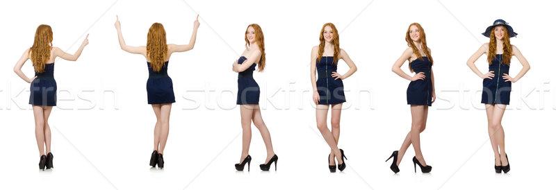 Donna virtuale pulsante isolato bianco Foto d'archivio © Elnur