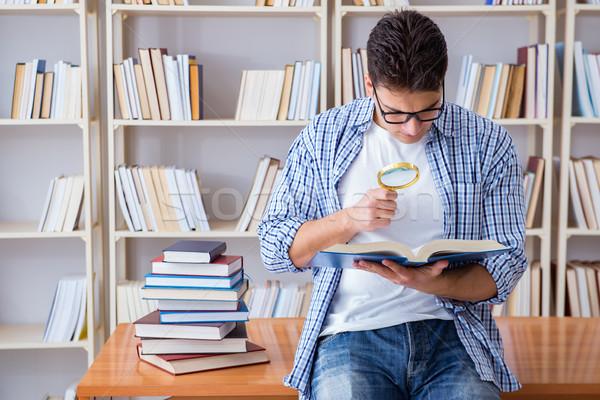 Genç öğrenci kitaplar sınavlar kitap adam Stok fotoğraf © Elnur