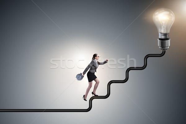女性実業家 登山 キャリア はしご 電球 作業 ストックフォト © Elnur