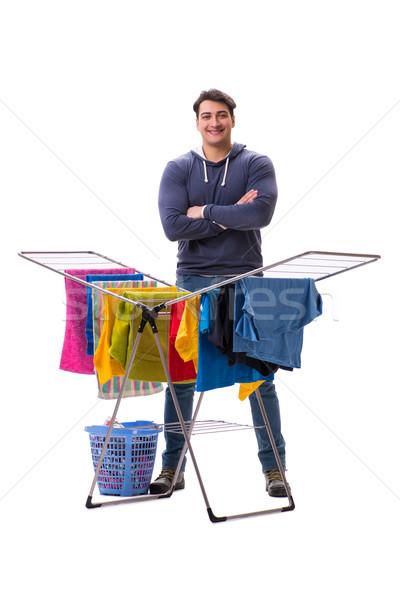 Marido hombre lavandería aislado blanco sonrisa Foto stock © Elnur
