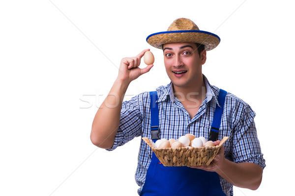 человека соломенной шляпе яйца дома продовольствие яйцо Сток-фото © Elnur