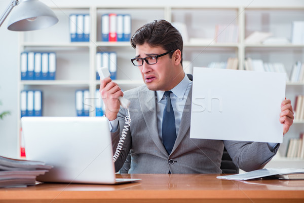 The businessman  in office holding a blank message board Stock photo © Elnur