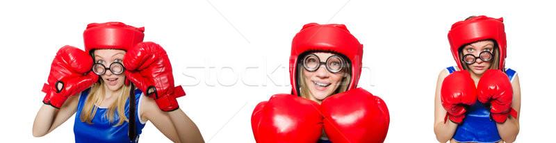 Drôle boxeur isolé blanche femme sport Photo stock © Elnur