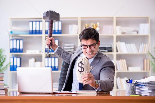 Zangado agressivo empresário escritório computador trabalhar Foto stock © Elnur