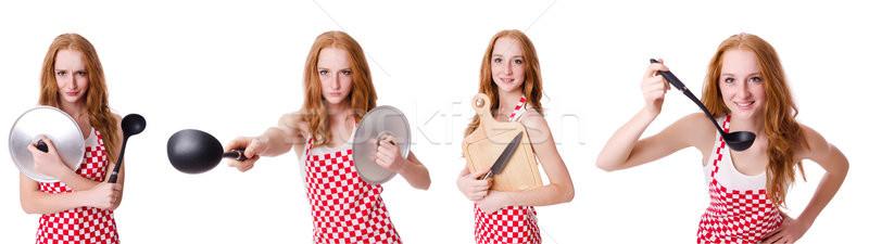 Mujer cocinar aislado blanco nina trabajo Foto stock © Elnur