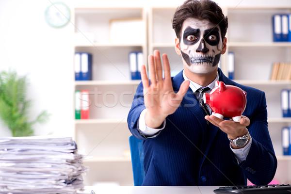 Imprenditore scary faccia maschera lavoro ufficio Foto d'archivio © Elnur