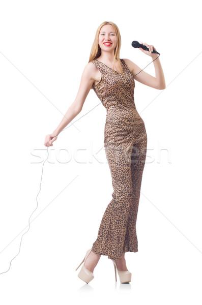 Vrouwelijke zanger geïsoleerd witte partij haren Stockfoto © Elnur