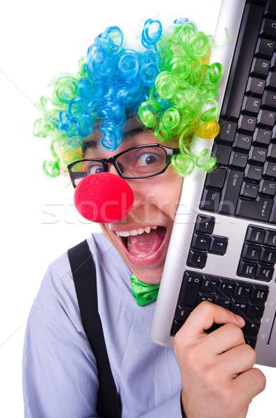 Grappig vent clown pruik witte partij Stockfoto © Elnur