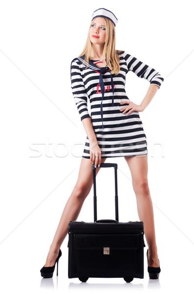 Mulher marinheiro isolado branco sorrir moda Foto stock © Elnur