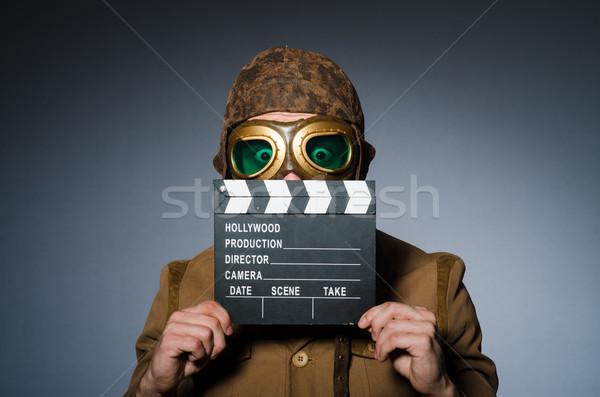 面白い パイロット ゴーグル ヘルメット 男 映画 ストックフォト © Elnur