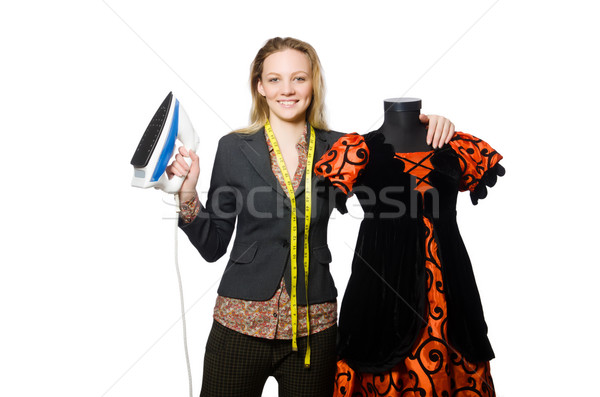Mulher alfaiate isolado branco trabalhar modelo Foto stock © Elnur