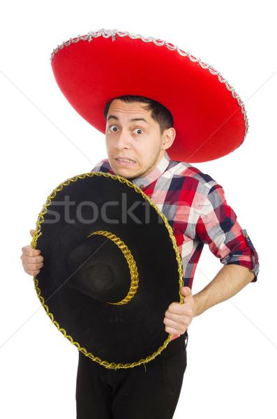 Engraçado mexicano sombrero feliz retro branco Foto stock © Elnur