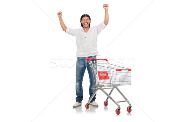 Férfi vásárlás áruház kosár kosár izolált Stock fotó © Elnur