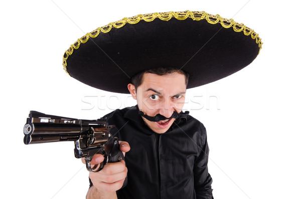 Stockfoto: Grappig · Mexicaanse · sombrero · hoed · hand · man