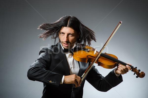 Adam keman oyuncu eğlence ses erkek Stok fotoğraf © Elnur